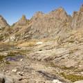 The Twin Lakes Basin below the Needle Mountains near Windom Peak.- Windom Peak