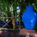 Pots throughout the gardens are painted electric colors.- Jardin Majorelle