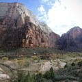 Looking across the main canyon at the Great White Throne and Red Arch Mountain.- West Rim Trail, Lava Point to Zion Canyon