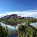 View of Red Mountain from Granite Reef, the kayak take-out point.- Lower Salt River: Water Users Camp Circle to Granite Reef