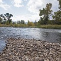 A pebble beach at the River Road South Access.- Middle Provo River