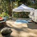Impressive setup at French Beach Provincial Park Campground.- French Beach Campground