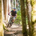 Cruising down Torpedo Run, one of the few high-speed flow trails in the park with some jumps and berms.- Hartland Mountain Bike Trails