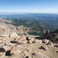 View north from the summit of Pikes Peak (14,115 ft).- Pikes Peak Summit + Highway