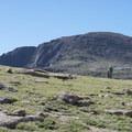 View of Pikes Peaks 14,115-foot summit.- Pikes Peak, Crags Route Hike