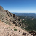 View northeast from the Bottomless Pit at 13,120 feet.- Pikes Peak, Crags Route Hike