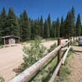 The Crags Trailhead and parking for Pikes Peak.- Pikes Peak, Crags Route Hike