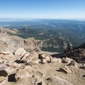 View north from the summit of Pikes Peak (14,115 ft).- Pikes Peak, Crags Route Hike