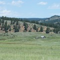 View north to the Hornbeck Homestead from the Florissant Fossil Beds National Monument Visitor Center.- Florissant Fossil Beds National Monument
