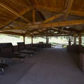 Picnic shelter near the visiter center at Florissant Fossil Beds National Monument.- Florissant Fossil Beds National Monument