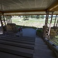Covered shelter and amphitheater at Florissant Fossil Beds National Monument.- Florissant Fossil Beds National Monument
