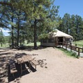 Educational pavilion (yurt) and day use picnic area at Florissant Fossil Beds National Monument.- Florissant Fossil Beds National Monument