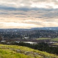 Looking southwest from the summit of Little Mount Douglas just before sunset.- Mount Douglas Park
