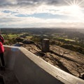 Enjoying the view from the summit of Mount Douglas.- Mount Douglas Park