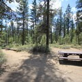 A single day use picnic table.- Fall River Campground