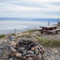 Picnic table and fire ring at the Fremont Point Day Use Area.- Fremont Point Day Use Area