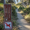 The signs indicating where the very short trail starts.- Patrick's Point
