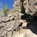 A cable section en route to the base.- Picacho Peak via Hunter Trail
