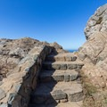 A couple of sets of stone stairs take visitors to the viewing area.- Wedding Rock