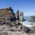 Wedding Rock sits nearby with twin pillars adjacent.- Wedding Rock Coastal Access