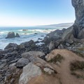 The trail disappears at the waters edge, where visitors can explore on their own.- Wedding Rock Coastal Access