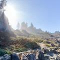 Sun beams over the nearby cliffs.- Wedding Rock Coastal Access