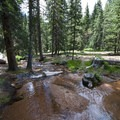 Fourmile Creek at the Crags Campground.- The Crags Campground
