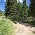 Typical campsite at the Crags Campground.- The Crags Campground