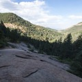 A very dry Silver Cascade Falls with a view over the Colorado Springs area.- Helen Hunt Falls Hike