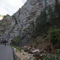 View back east along South Cheyenne Canyon.- Seven Falls