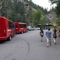 Tour buses at Seven Falls.- Seven Falls