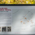 Historic trail map near the double digit campsites.- Ah-Di-Na Campground