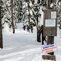 Skier-only trail to the cabin (NF 380).- Hemlock Butte Cabin