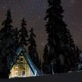 A clear starry night over the Hemlock Butte cabin.- Hemlock Butte Cabin