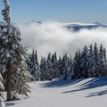 Untouched lines. The rim of Crater Lake sits in the distance.- Mount Bailey Backcountry Skiing
