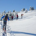 Skinning up the southeast ridge.- Mount Bailey Backcountry Skiing