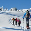 Skinning up the southeast ridge toward the summit.- Mount Bailey Backcountry Skiing