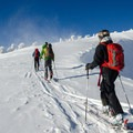 Skinning around the Cereal Bowl.- Mount Bailey Backcountry Skiing