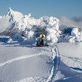 The mountain is open to motorized travel. Snowmobilers playing around in the Cereal Bowl. - Mount Bailey Backcountry Skiing