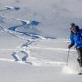 Fresh turns along the southeast ridge.- Mount Bailey Backcountry Skiing