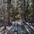 Crossing the dam.- Long Lake Swimming Hole via Palisades Creek Trail