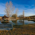 The small pond has scenic benches.- Virgin Valley Warm Springs