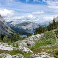 Looking back at Hidden Lake and Upper Kananaskis Lake.- Northover Ridge