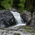 Many waterfalls coming from Aster Lake.- Northover Ridge