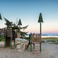 The day use area has a small playground.- Rathtrevor Beach