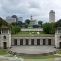 Amphitheatre and state capitol building.- Bicentennial Capitol Mall State Park