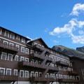 Eastern side of Many Glacier Hotel.- Many Glacier Hotel + Swiftcurrent Lake
