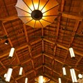 Vaulted ceilings of the Many Glacier Hotel dining room.- Many Glacier Hotel + Swiftcurrent Lake