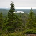View from Mount Ojibway over the inland lakes.- Greenstone Ridge Trail