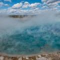 Deep blue in Excelsior Geyser Crater.- Grand Prismatic Spring + Midway Geyser Basin